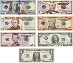 купюры долларов